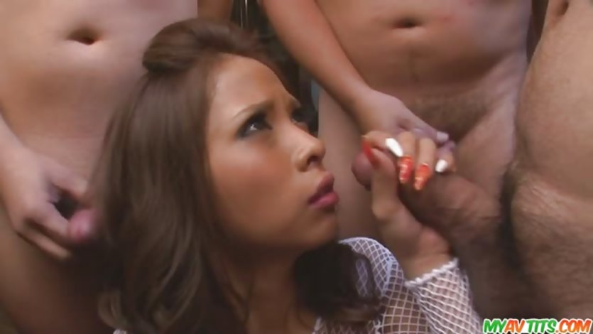 Ema gives japan blowjob after blowjob for their cum