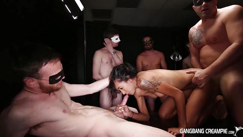 Gangbang Creampie sexy spinner creampied and gangbanged