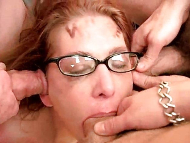 MILF gagging on a multitude of cock