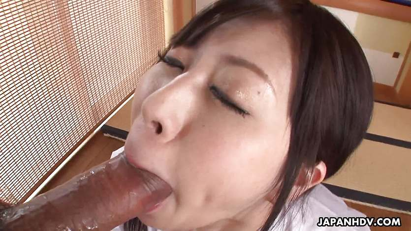 Blowing that big fat dick and she loves it