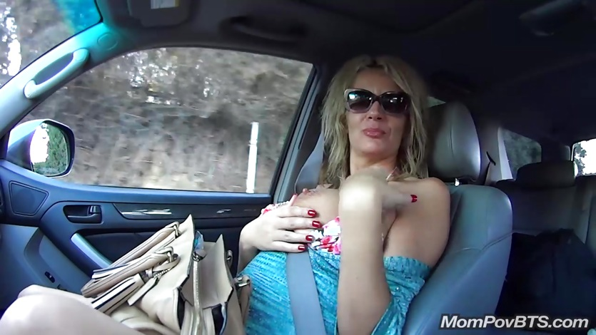Busty Polish MILF public flashing