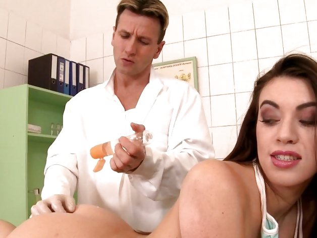 Dirty bitch anally fisted by doctor