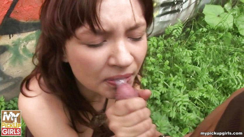 Dirty girl fucks in public