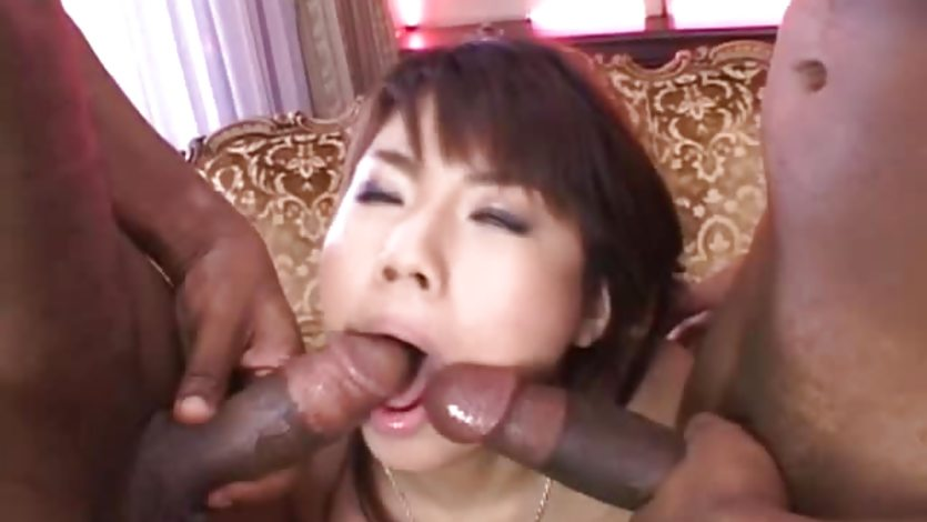Interracial MMF sucking and fucking
