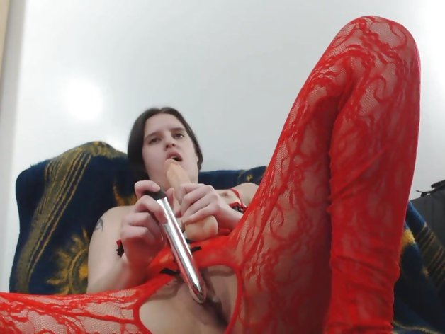 Squirting orgasm in red