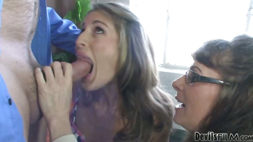 Alexandra Silk watching her daughter sucking dick hard
