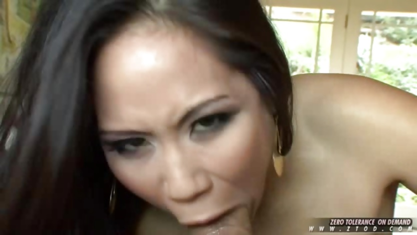 Asian hottie Jessica Bangkock takes a thick shaft and deep throats it