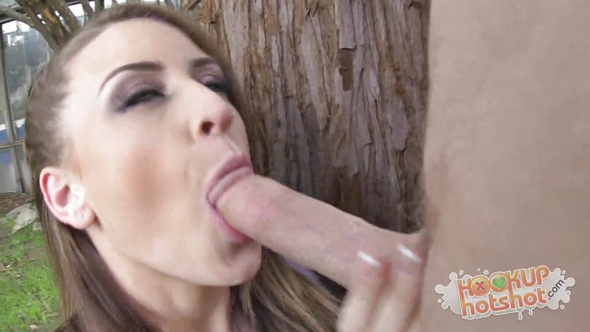 Beautiful girl Delilah Blue has her throat fucked deep and hard