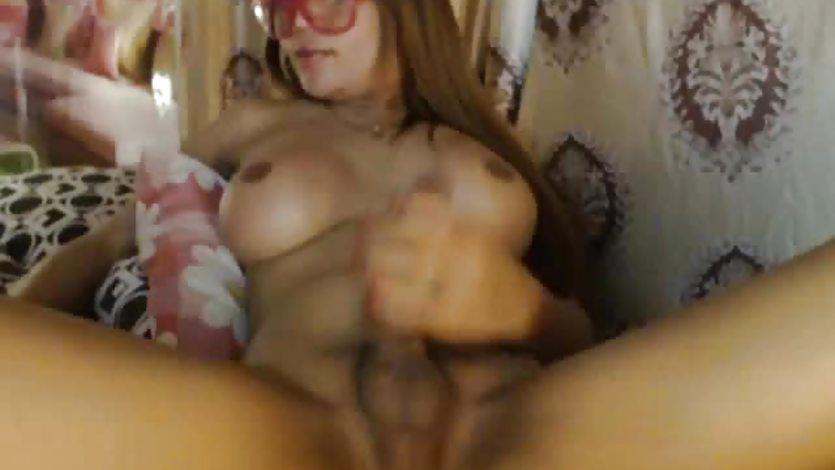 Big Cock Busty Shemale Masturbating