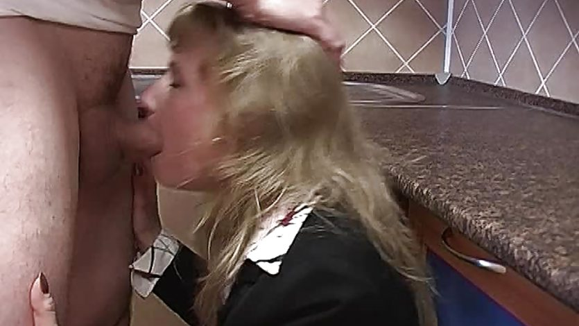 Blonde Housewife In Stockings Receives Pussy Fisting