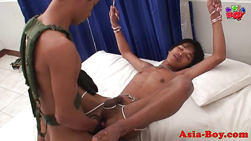 Bound asian twink assfucked after gagged