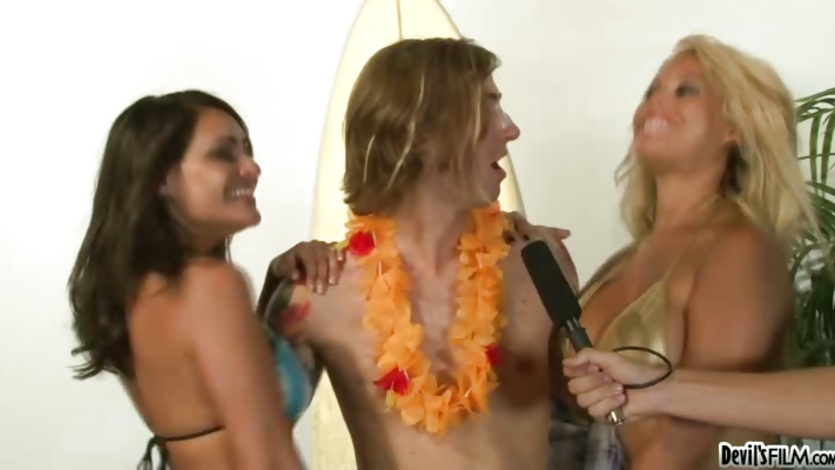 Bridgette B with hot chick in hot summer with hunk guy