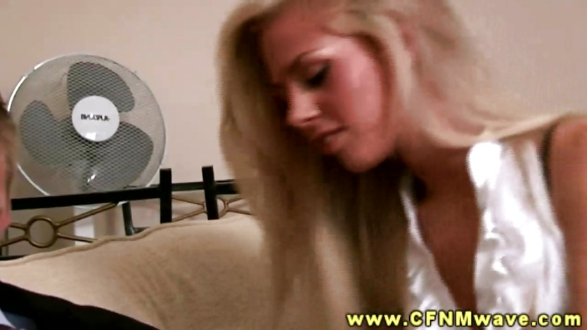 CFNM blond blowjob threesome