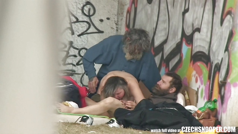 Homeless Threesome Having Sex on Public