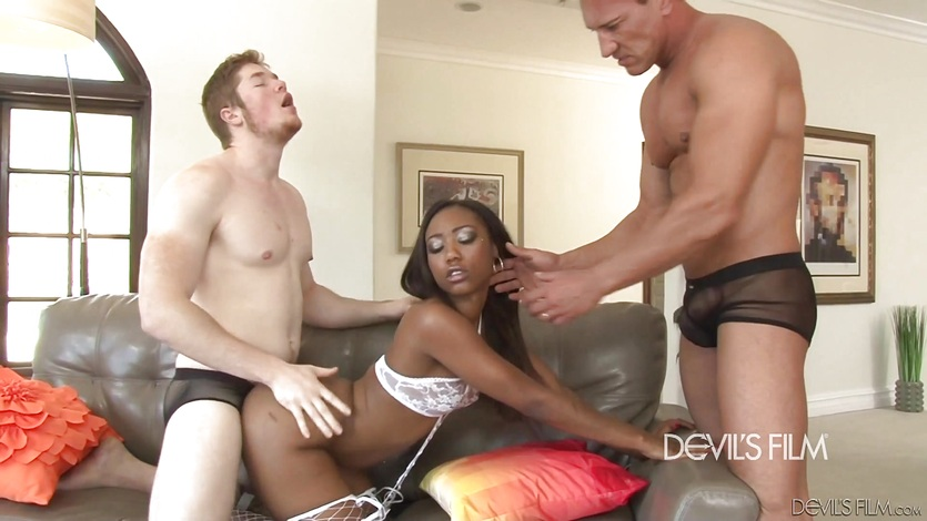 Hot interracial gangbang with Chanell Heart