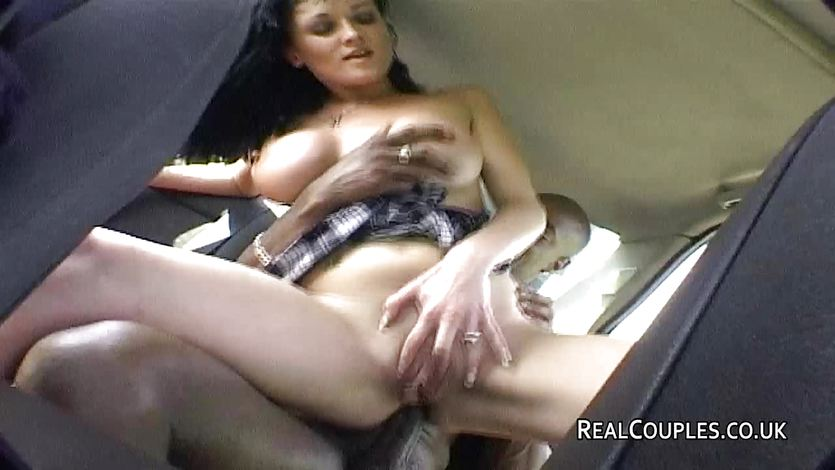 Interracial couple anal sex in car