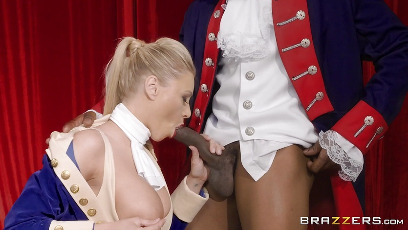 Interracial pussy fuck on stage with Katie Morgan