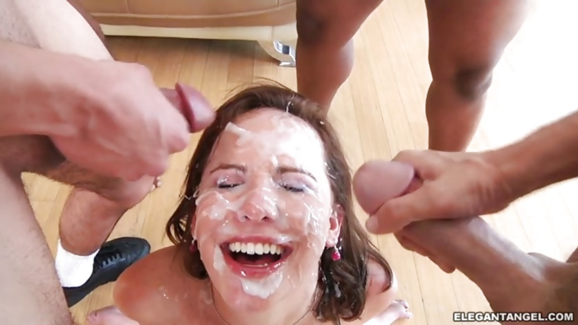 Katie St Ives gets her face plastered with warm cum