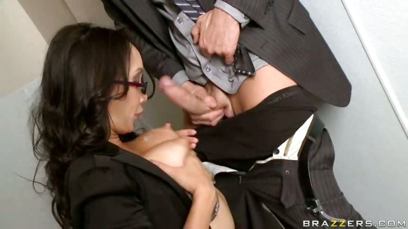 Katsumi get tit fuck in the office's public toilet