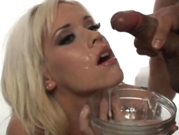 Kissy Kapri slurps down a cum cocktail made by several men cumming in a glass