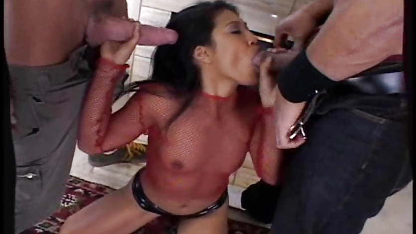 One at a time, Lyla Lei takes two hard cocks in her mouth and sucks
