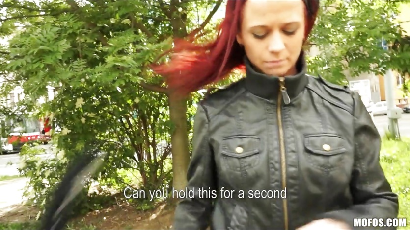 Playful redhead strips in public & tries anal sex