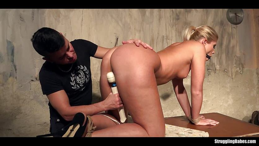 Sandy bound ballgagged whipped vibed squirting