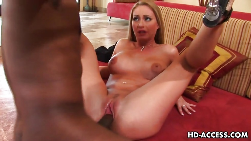 Sexy blonde Aline interracial sex