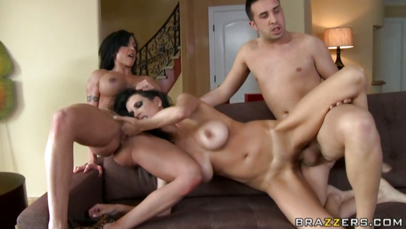 Shay Sights enjoys a heavy threesome as she plays with Jewels' sweet pussy
