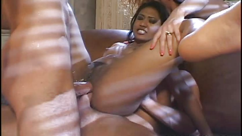 Sloppy and nasty double penetration fuck for the Asian