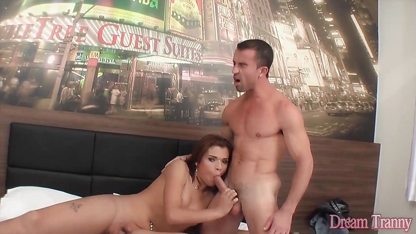 Small dicked shemale creampied