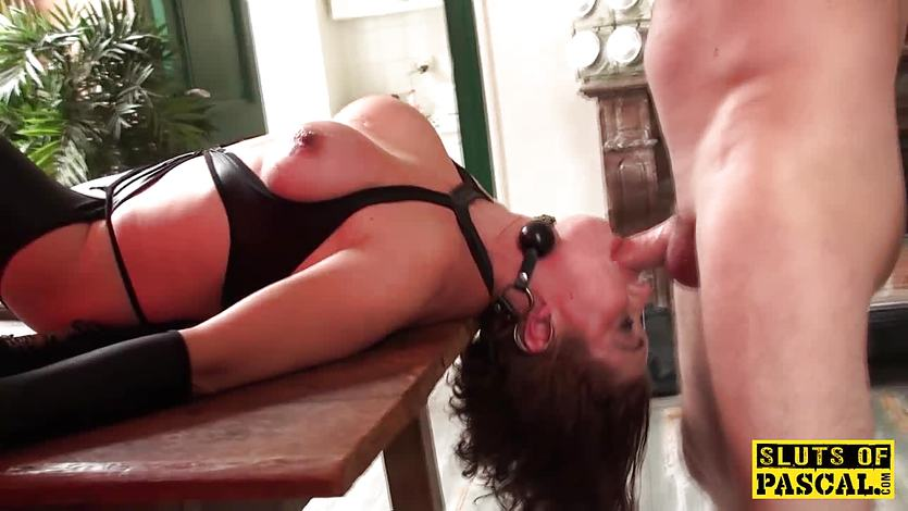 Squirting british subject gets throatfucked