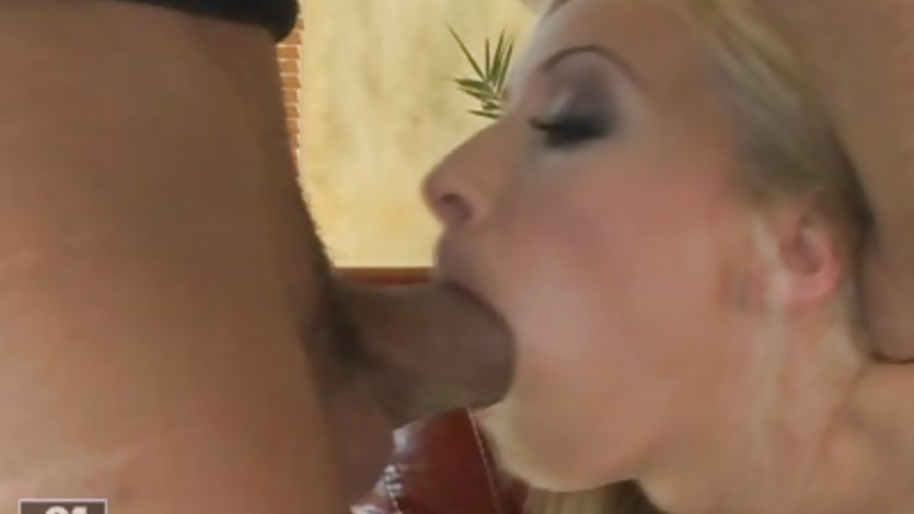 Big tits babe Helena White deep throats a massive hard cock and swallows