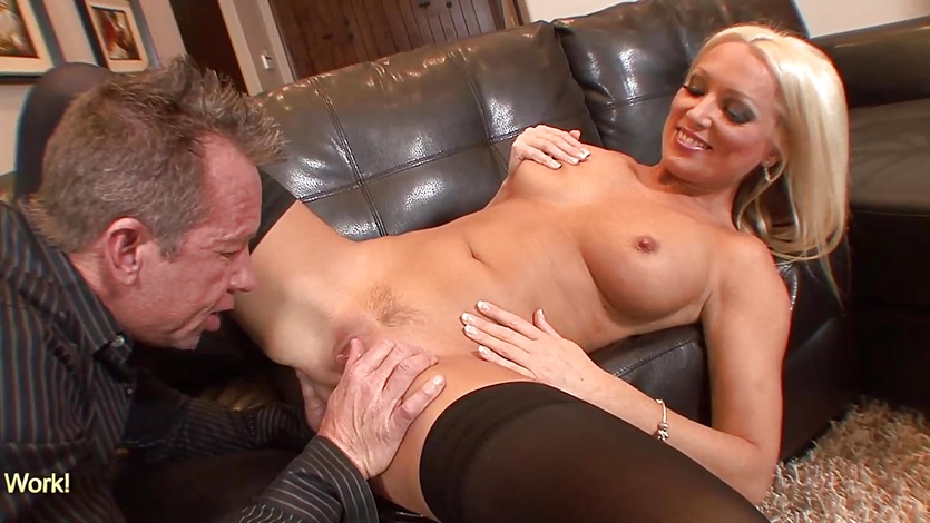 Big tits blonde babe jumping on hard dick