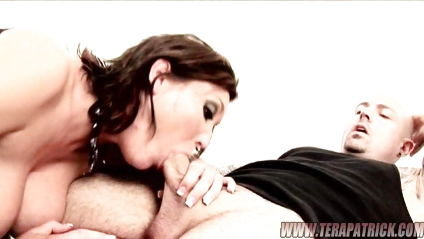 Big titted honey Claire Dames sticks a cock deep down her throat