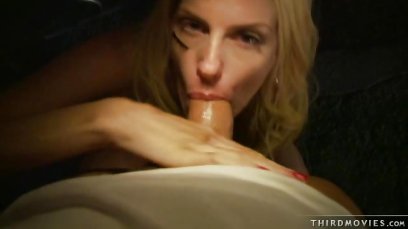 Cock lover Darryl Hanah stuffs her mouth with a huge cock deep throating it
