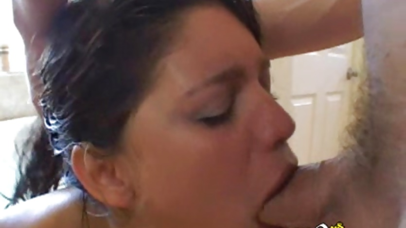 Cock sucker Paola Rey deep throats a thick meaty cock until she gags
