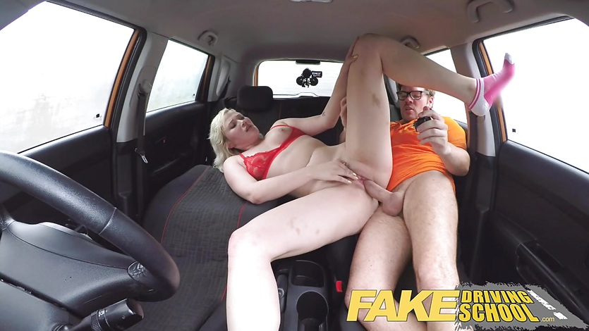 Fake Driving School Back seat pussy squirting