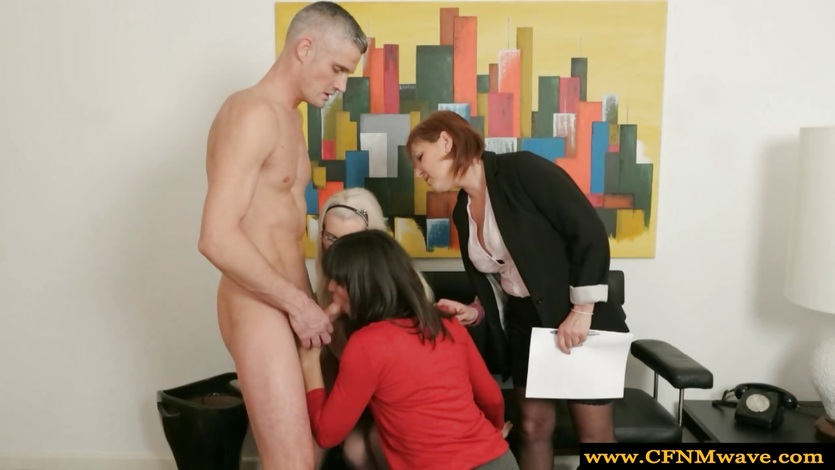 Femdom hotties give guy a blowjob