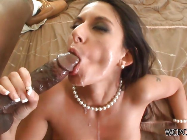 Hot brunette babe goes crazy in an interracial fuck