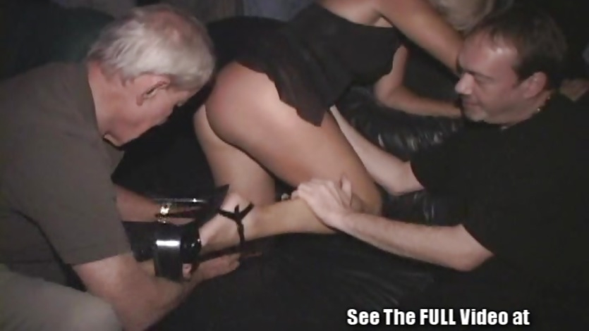 Squirting Blonde Milf Is Gangbanged In A Porn Theater!