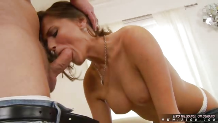 Tori Black gets a nice long dick deep in her throat during a blowjob