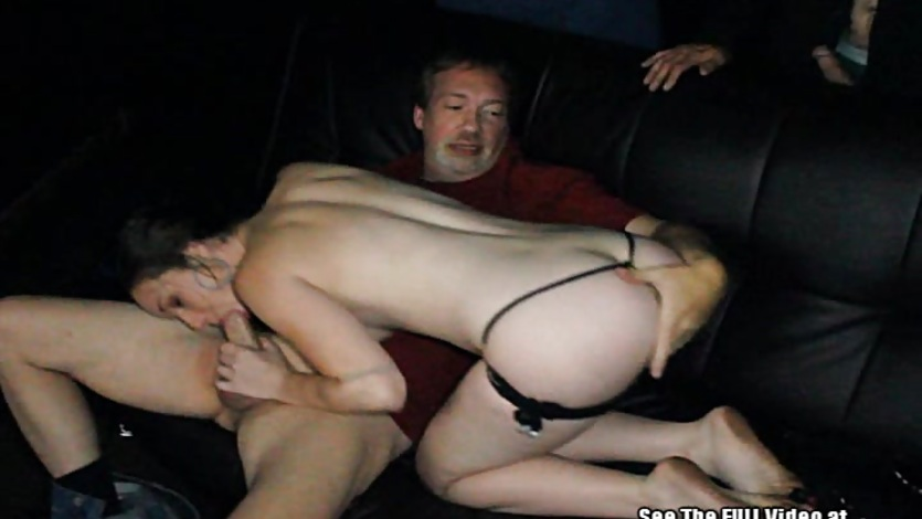 Wild Gangbang Slut Squirts Milk in Porno Theater