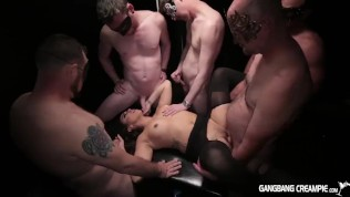Gangbang girl gets rocked by 5 cocksmen