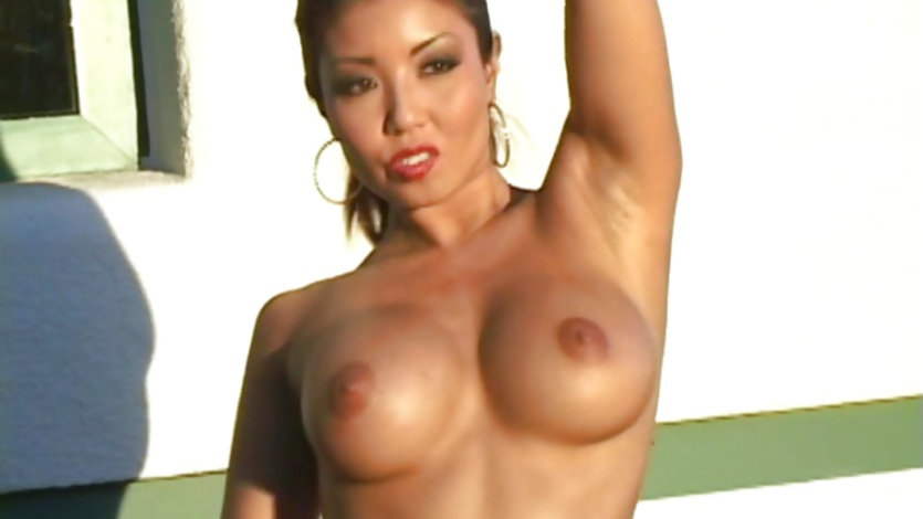 Asian in bikini showing perfect tits