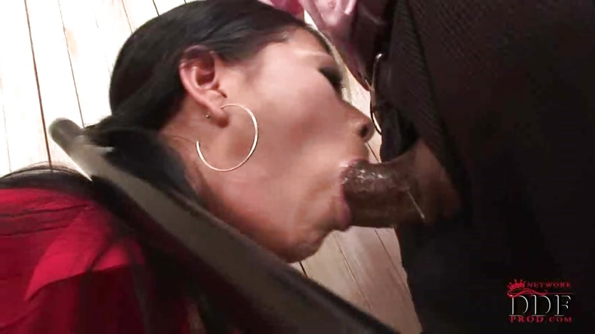 Babe Yoha gives her throat to a giant cock
