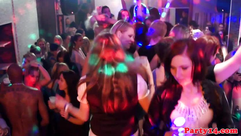 Euro amateurs licking pussy on the dancefloor
